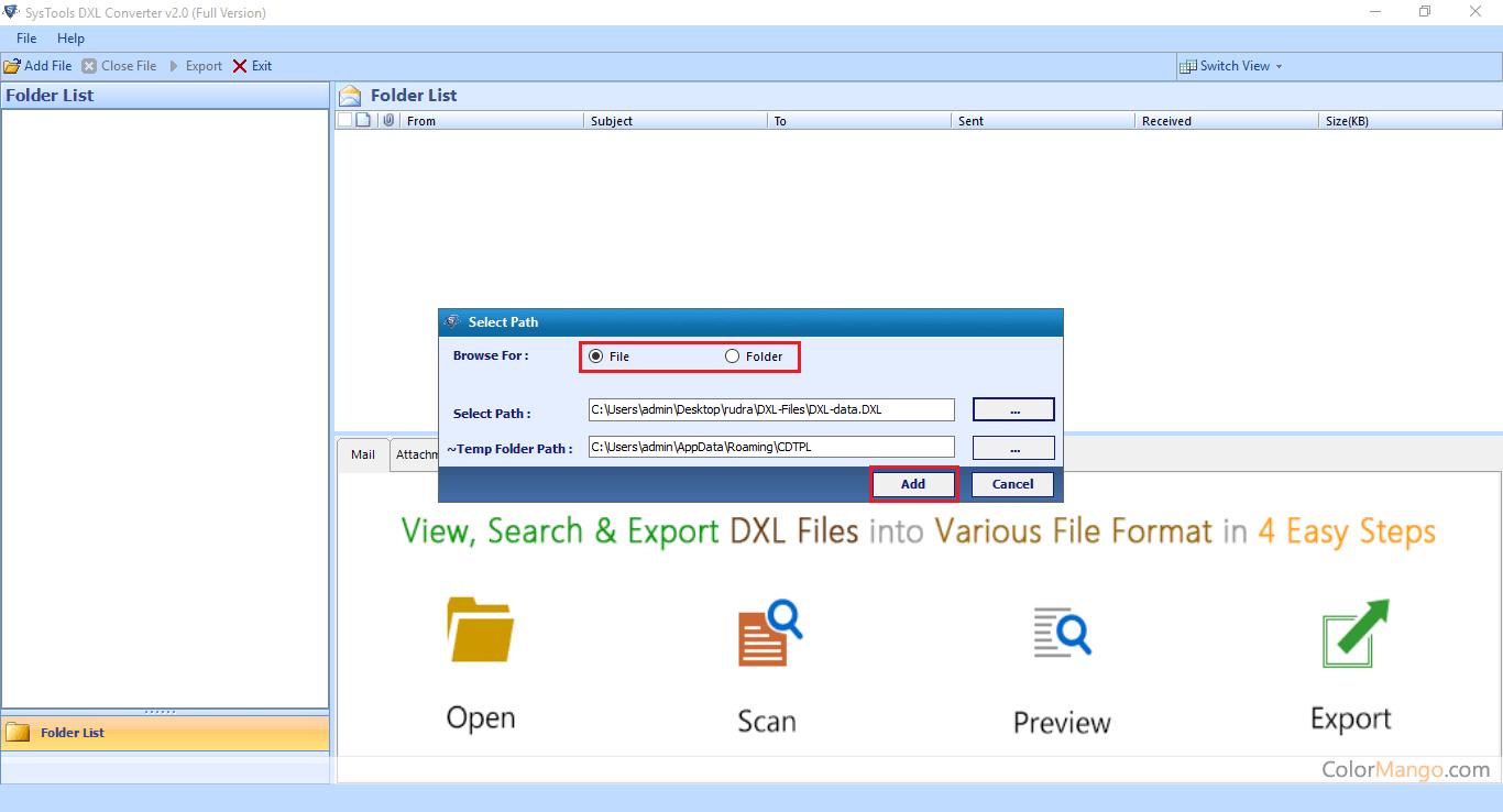 SysTools DXL to PST Converter Screenshot
