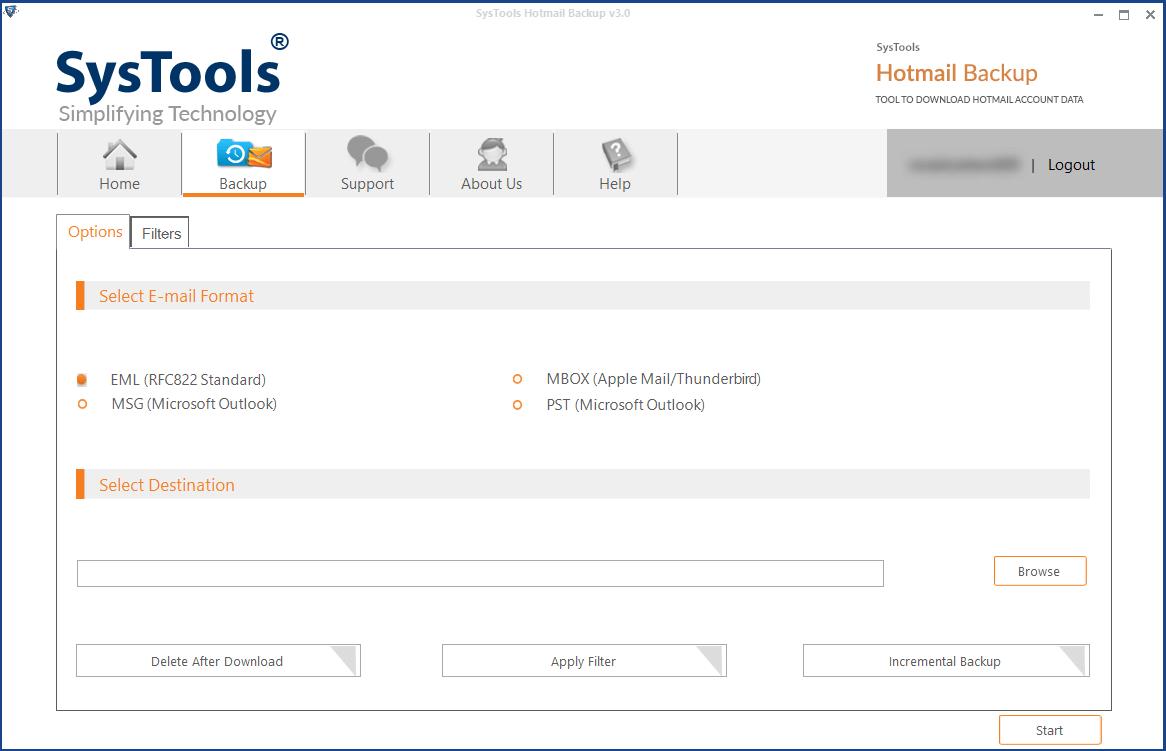 SysTools Hotmail Backup Screenshot