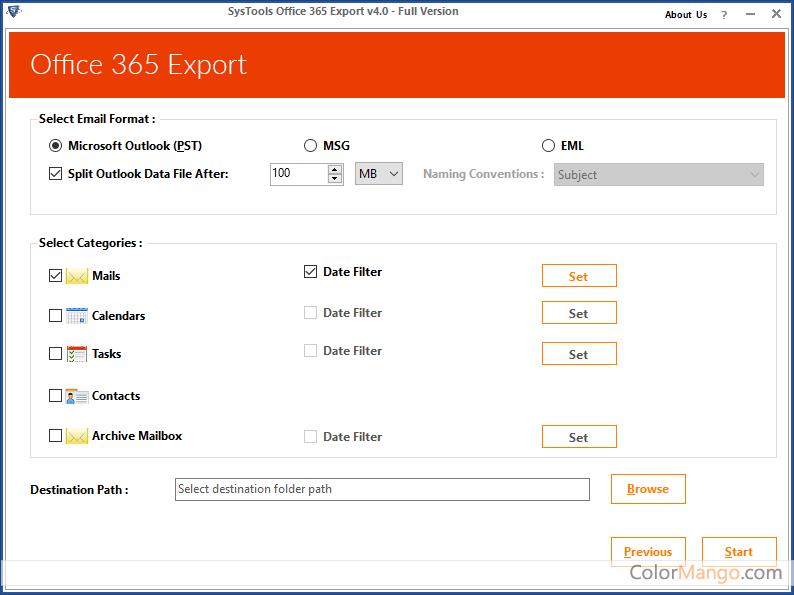 SysTools Office 365 Export Screenshot