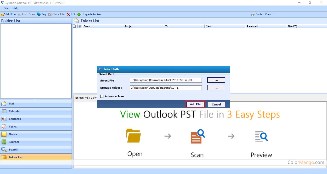 SysTools Outlook PST Viewer Bildschirmfoto