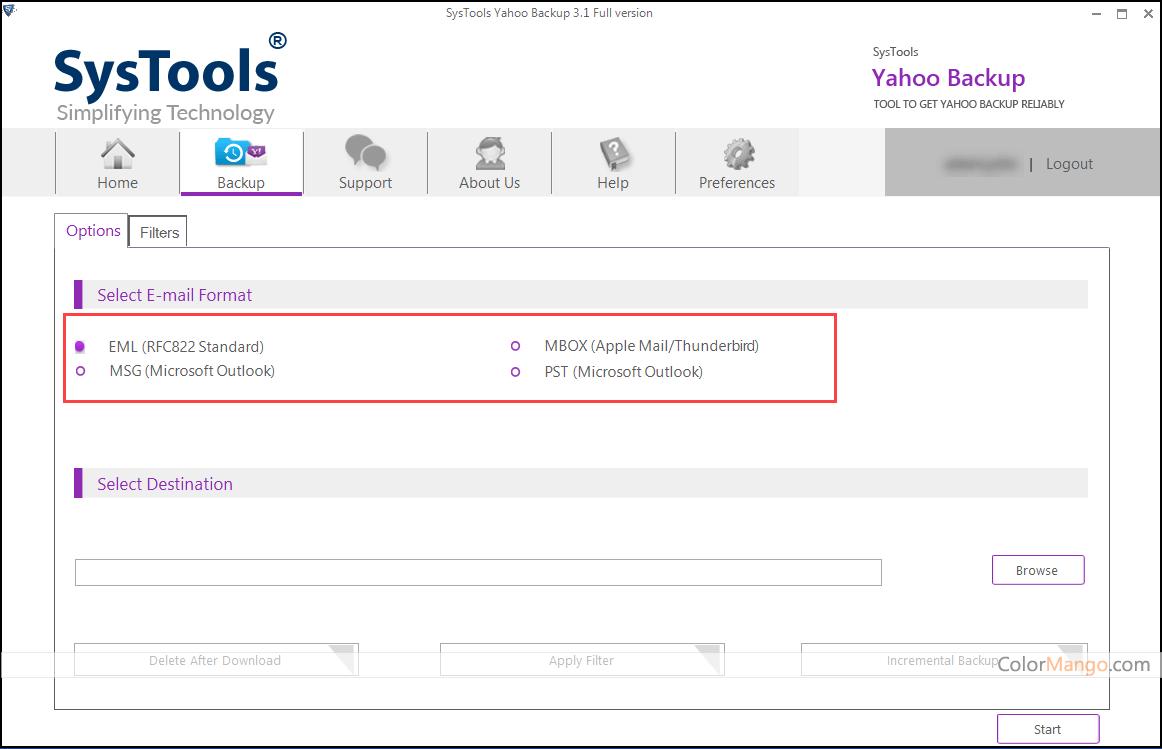 SysTools Yahoo Backup Screenshot