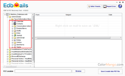 EdbMails EDB to PST Free Tool Shopping & Review Screenshot