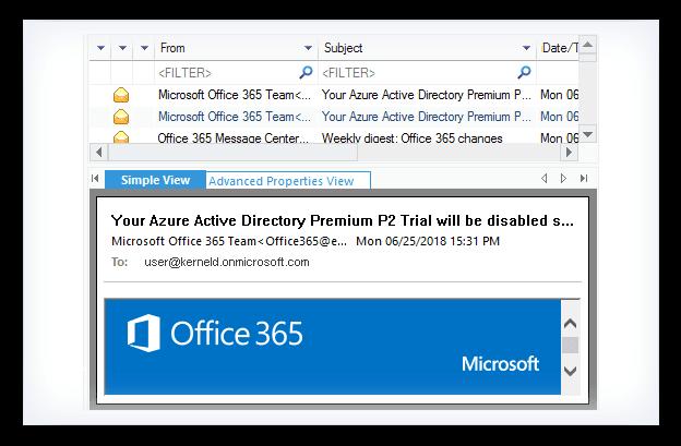 Kernel Email Repair Screenshot