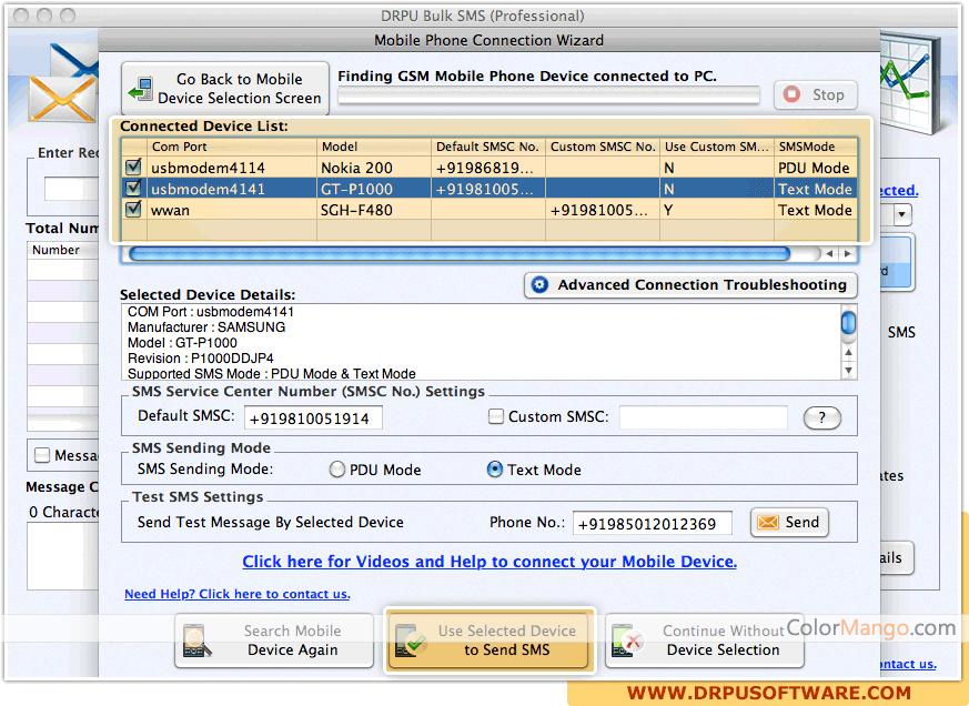 DRPU Mac Bulk SMS Screenshot