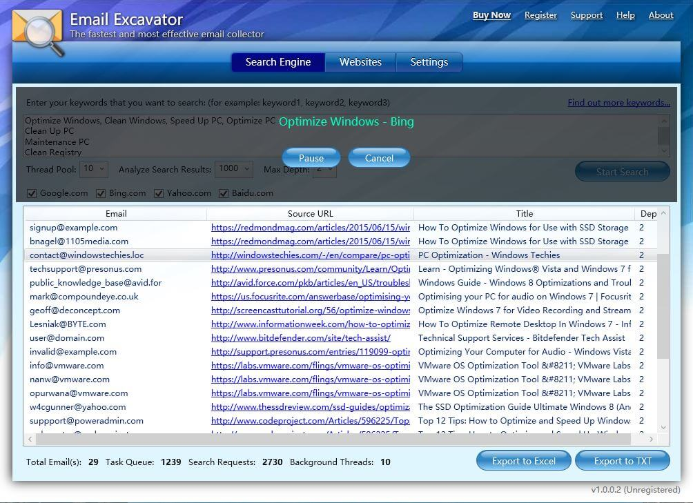 Email Excavator Screenshot