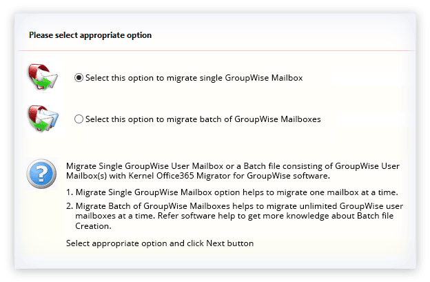 Kernel Office 365 Migrator for GroupWise Screenshot