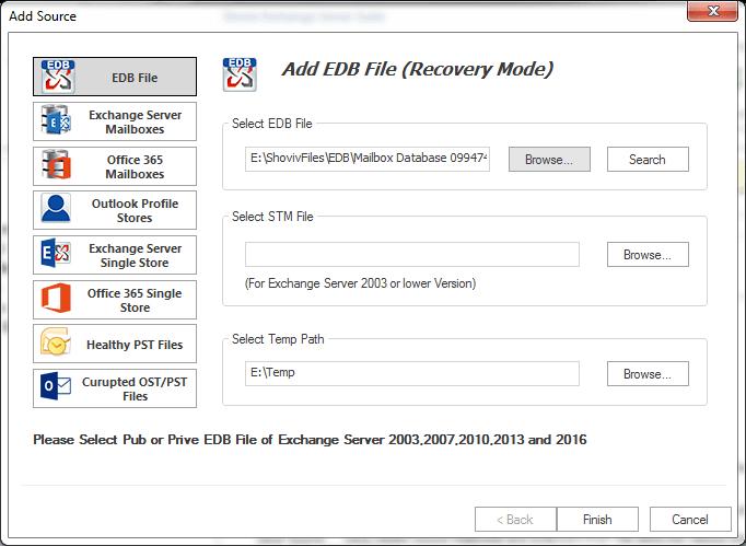 Shoviv Exchange Server Suite Screenshot