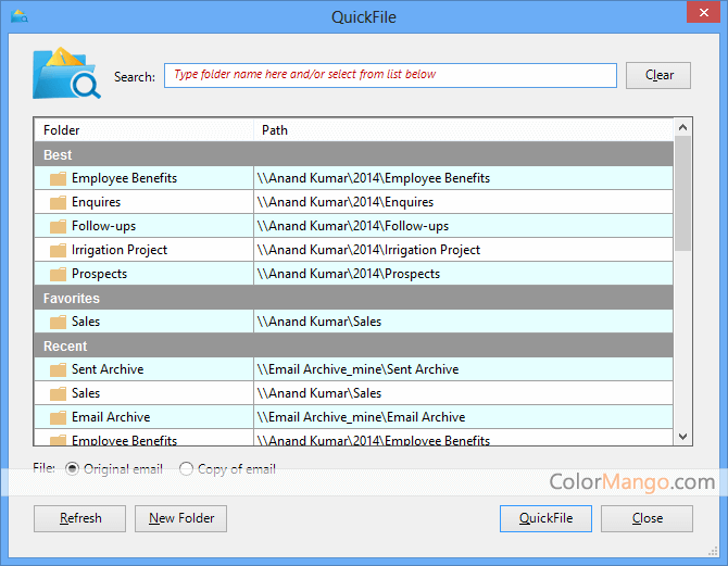 Standss QuickFile for Outlook Screenshot