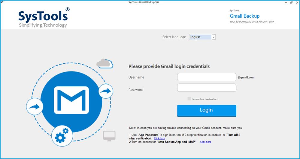 SysTools Gmail Backup Screenshot
