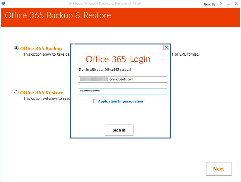 SysTools Office 365 Backup for Mac Screenshot