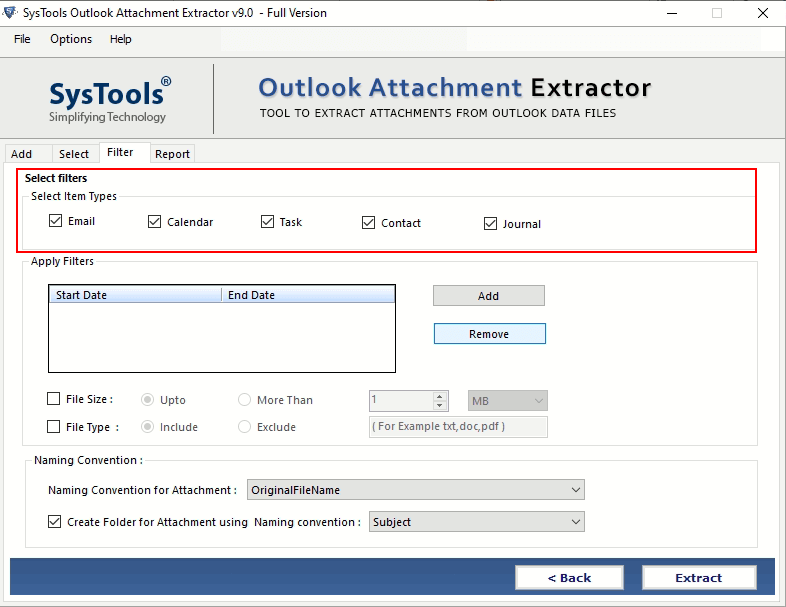SysTools Outlook Attachment Extractor Screenshot