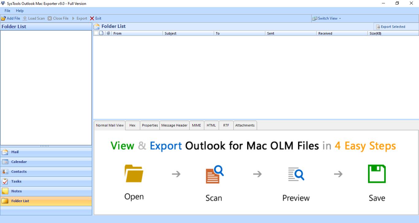 SysTools Outlook Mac Exporter Screenshot