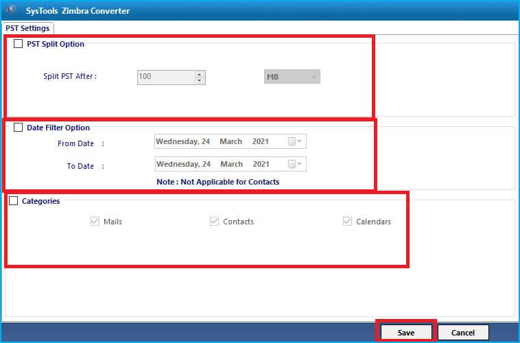 SysTools Zimbra Converter Screenshot
