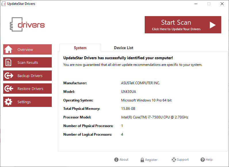 UpdateStar Drivers Screenshot