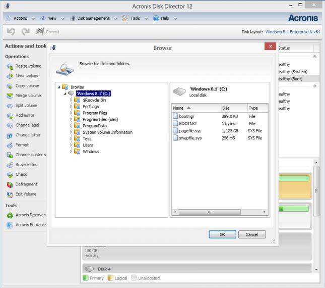 Acronis Disk Director Bildschirmfoto