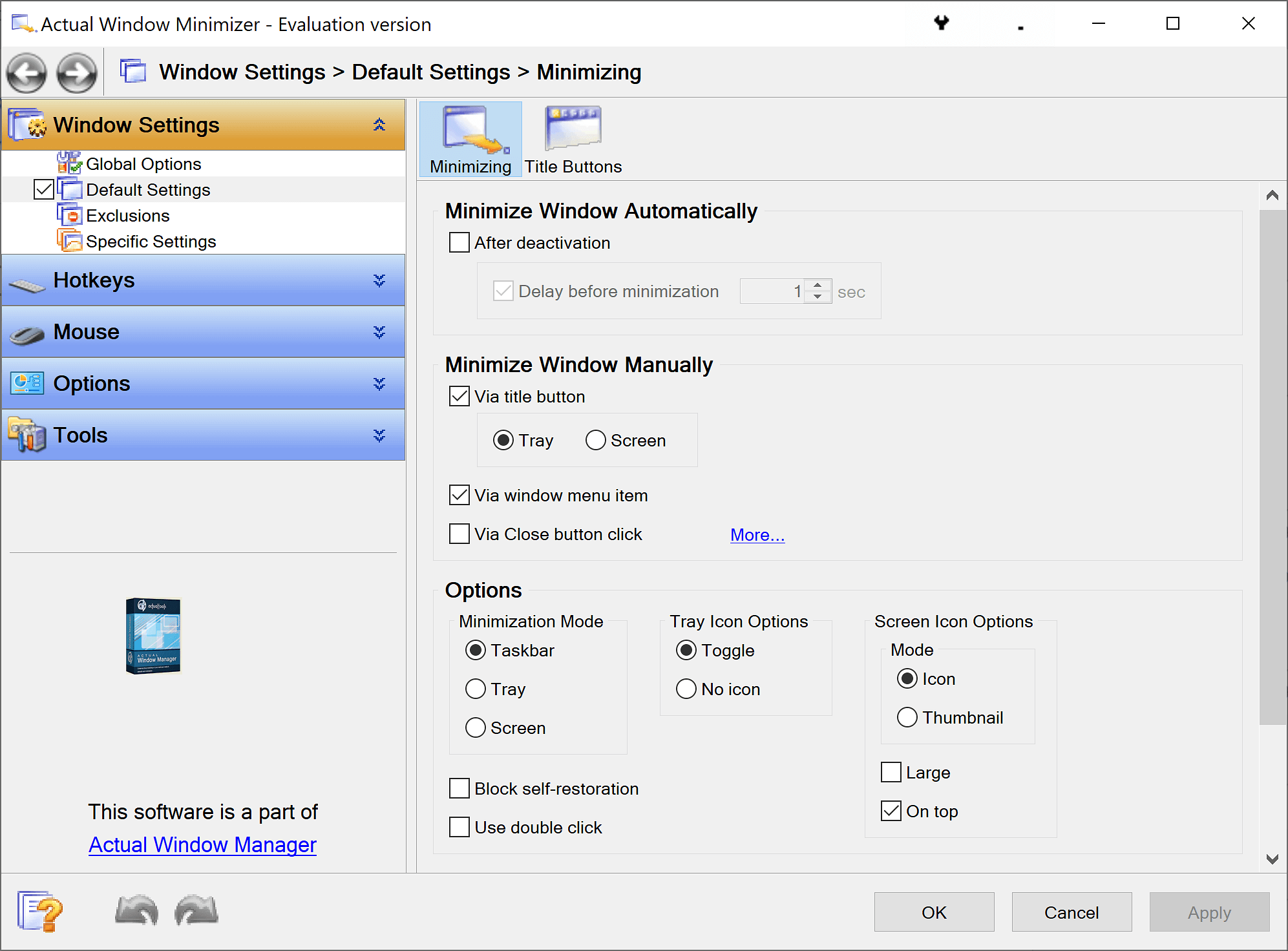 Actual Window Minimizer Bildschirmfoto