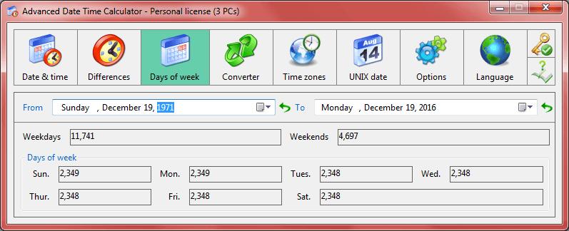 Advanced Date Time Calculator Bildschirmfoto