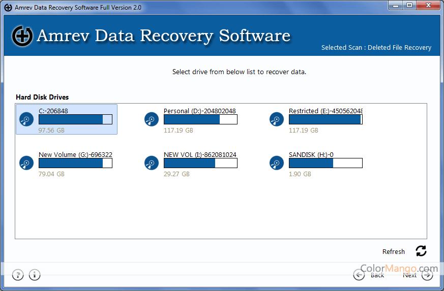 Amrev Data Recovery Screenshot