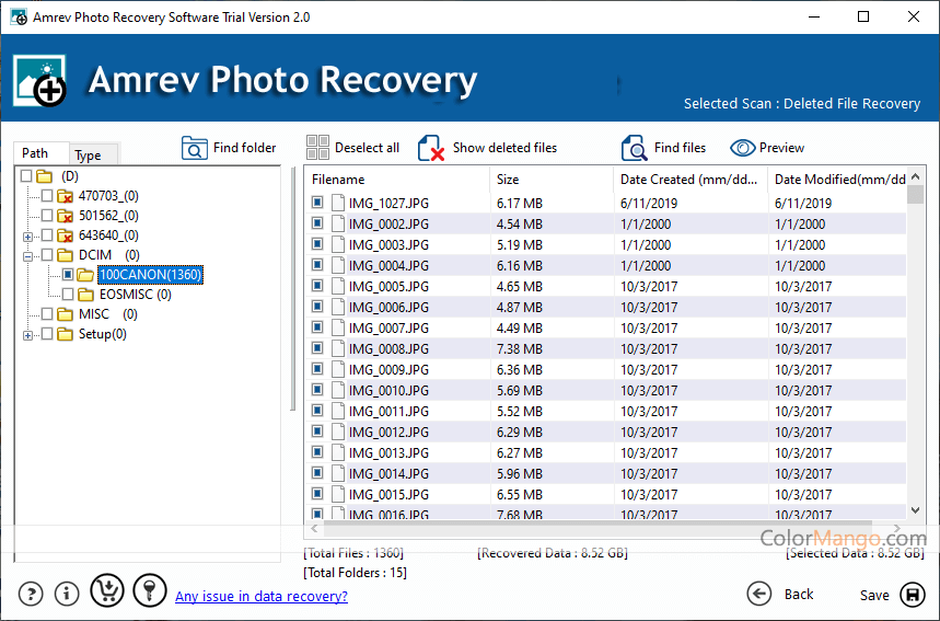 Amrev Photo Recovery Screenshot