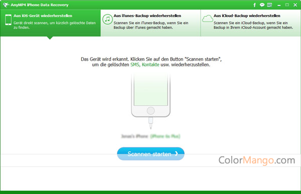 AnyMP4 iPhone Data Recovery Bildschirmfoto