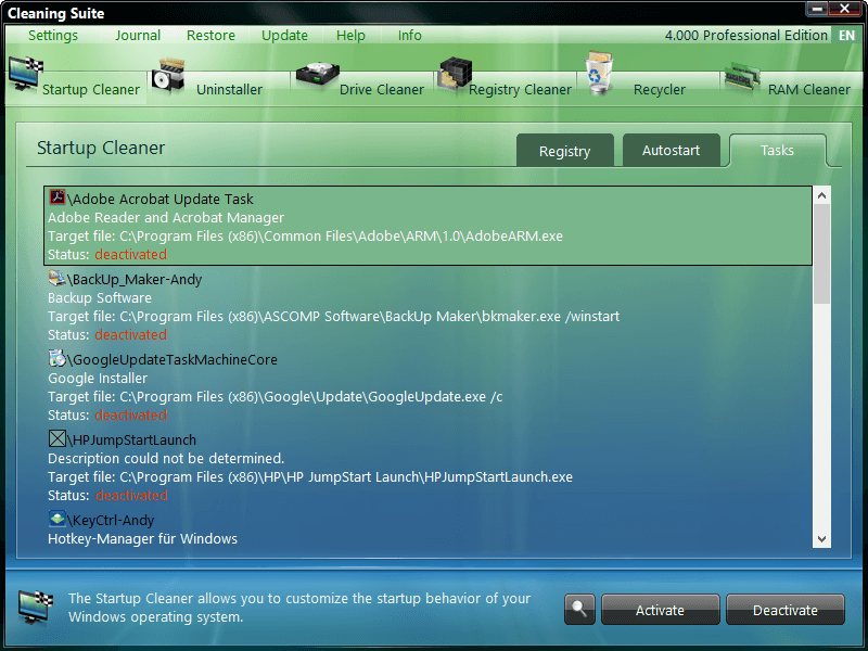 ASCOMP Cleaning Suite Screenshot