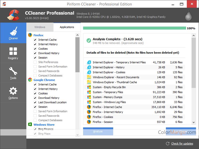 CCleaner Professional Bildschirmfoto