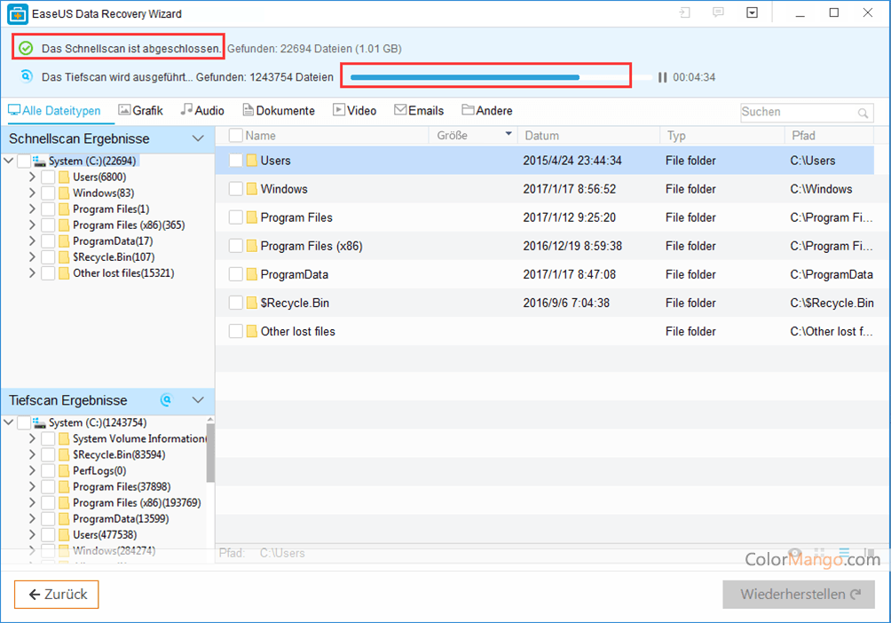 EaseUS Data Recovery Wizard Professional Bildschirmfoto