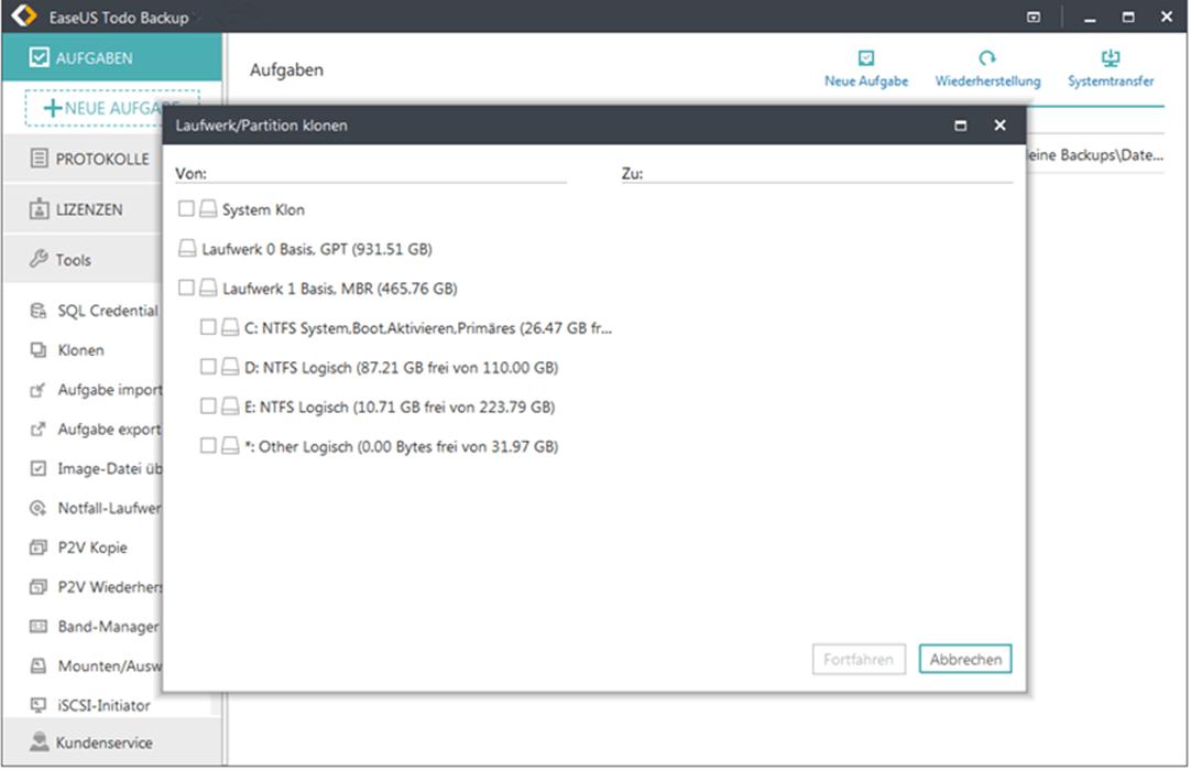 EaseUS Todo Backup Server Bildschirmfoto
