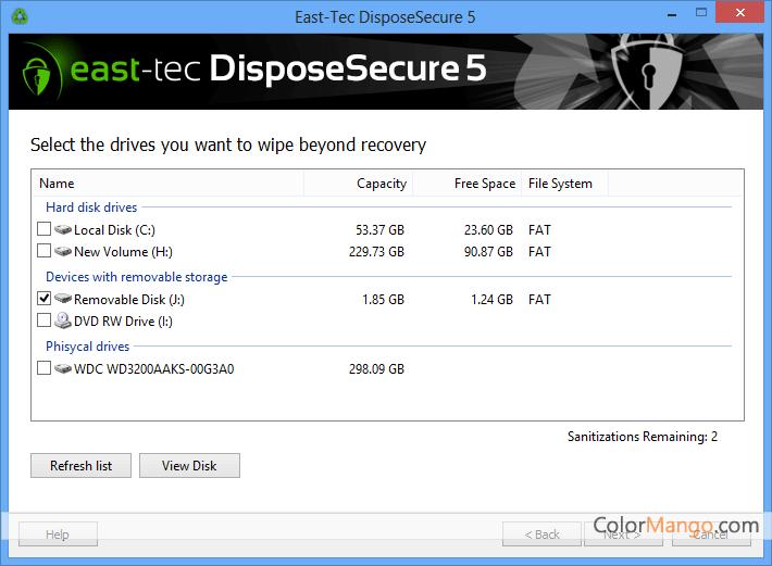 east-tec DisposeSecure Screenshot