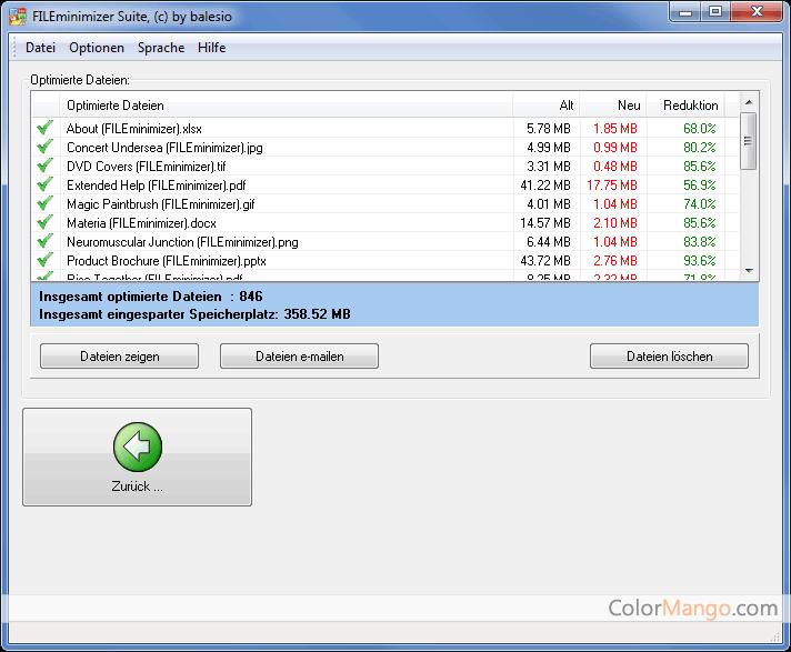 FILEminimizer Suite Bildschirmfoto