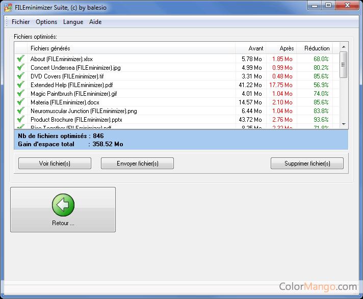 FILEminimizer Suite Capture D'écran