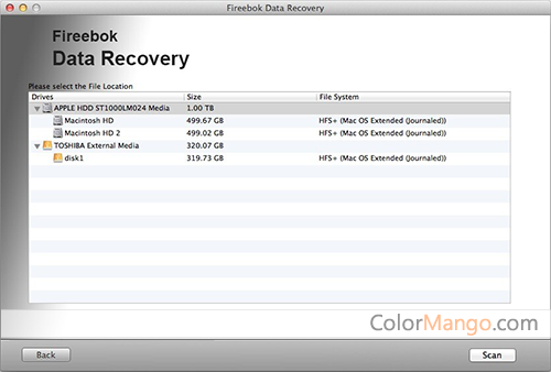 Fireebok Data Recovery Screenshot