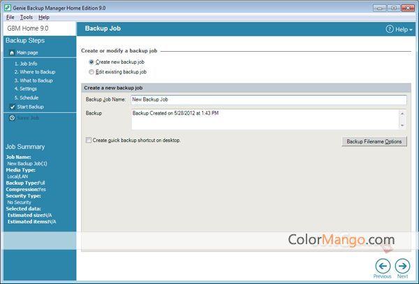 Genie Backup Manager Home Bildschirmfoto