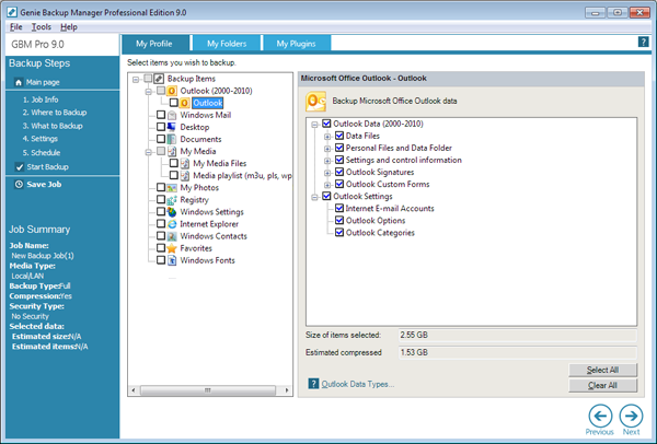 Genie Backup Manager Pro Screenshot