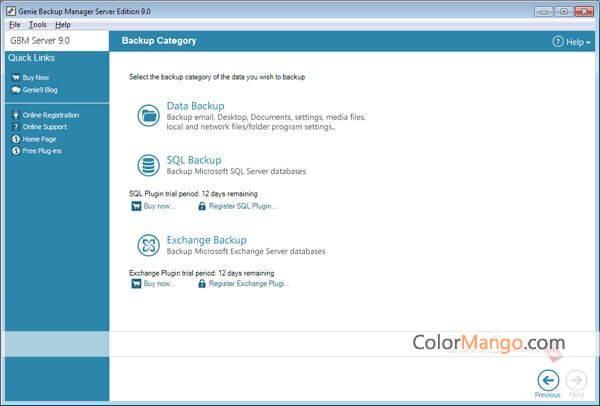 Genie Backup Manager Server Screenshot