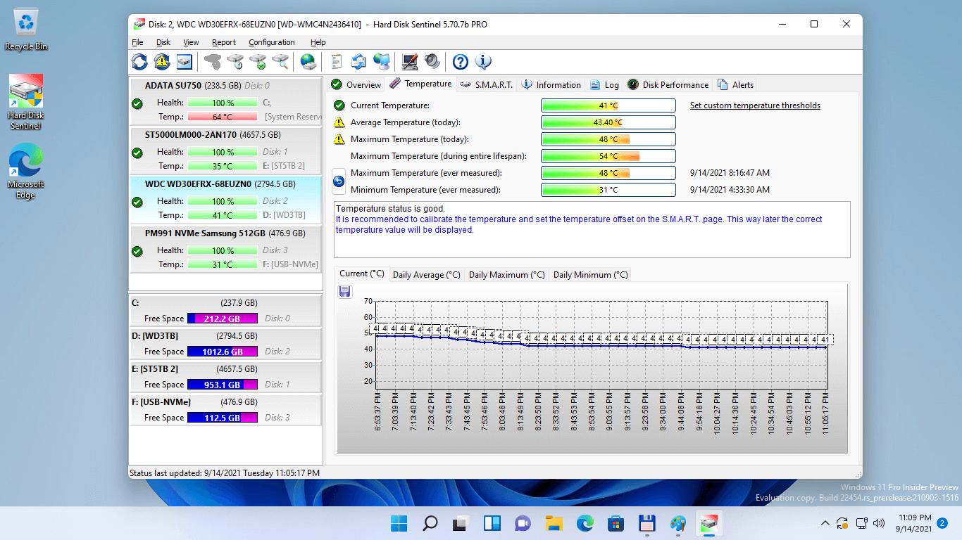 Hard Disk Sentinel Professional Bildschirmfoto