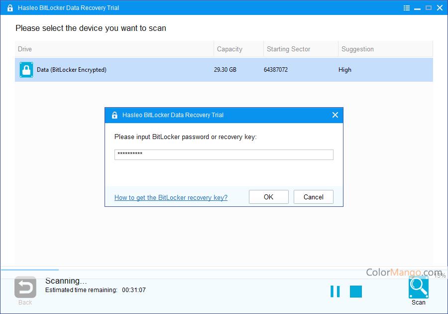 Hasleo BitLocker Data Recovery Screenshot