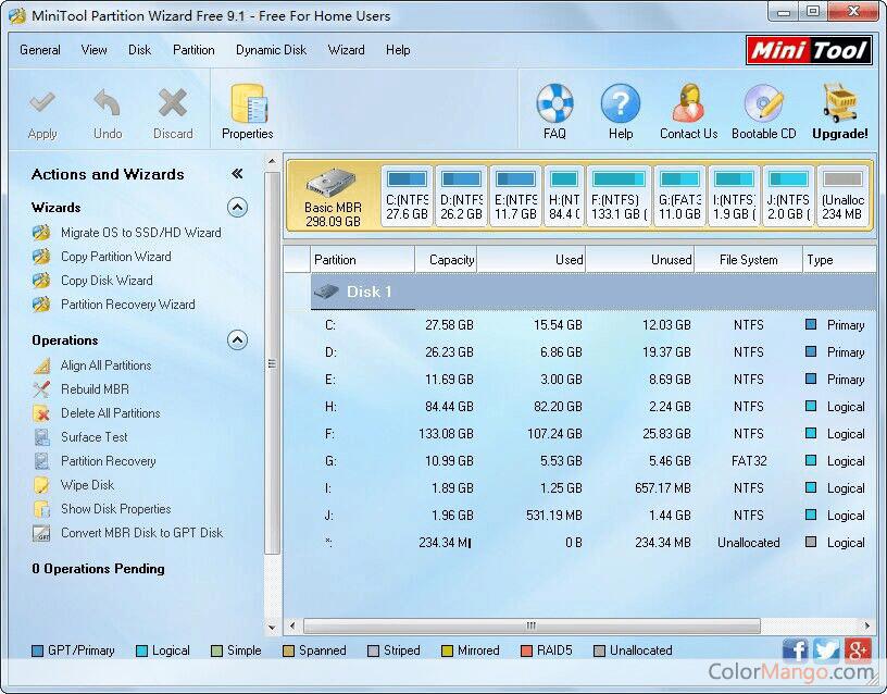MiniTool Partition Wizard Free Bildschirmfoto