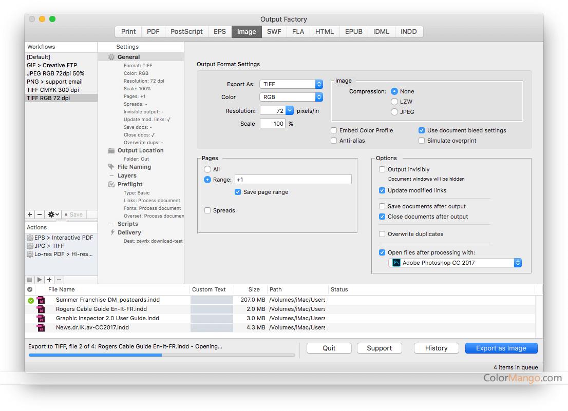 Output Factory Screenshot