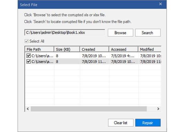 ステラフェニックス Excel リペアー スクリーンショット