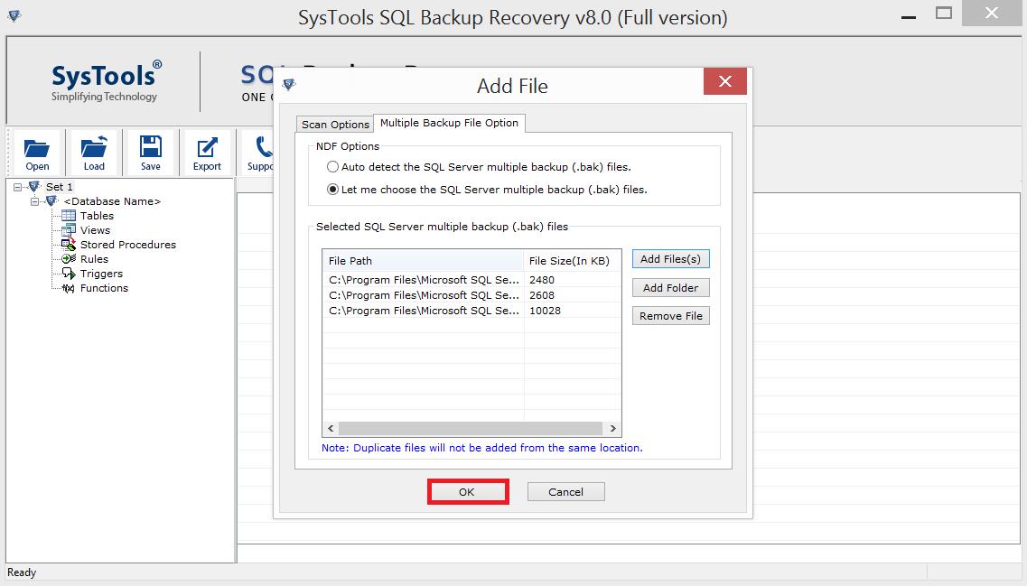 SysTools SQL Backup Recovery Screenshot