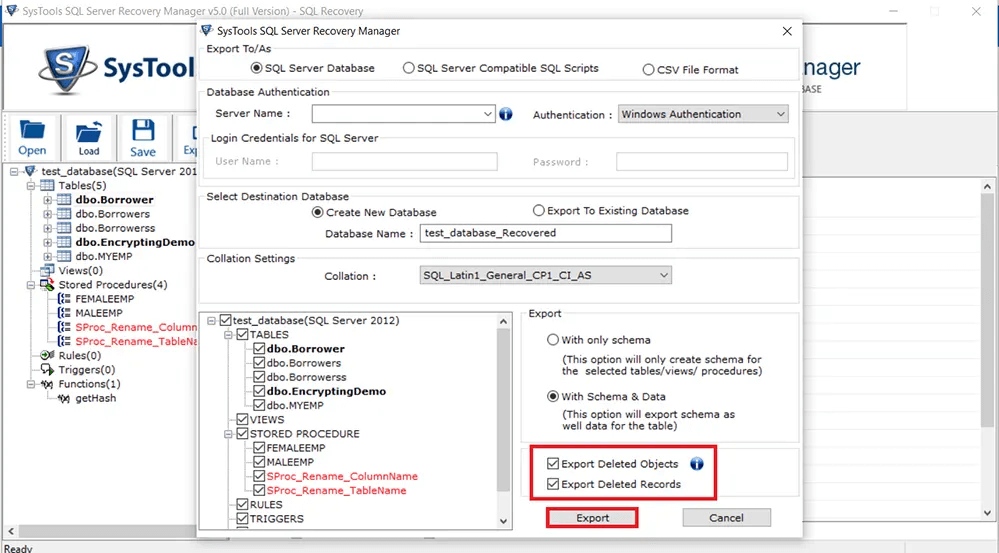 SysTools SQL Server Recovery Manager Screenshot