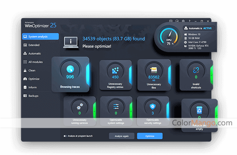 Ashampoo WinOptimizer Screenshot