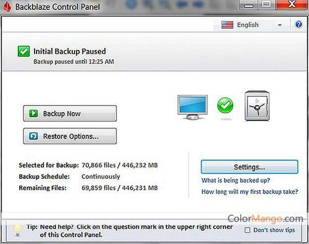 Backblaze Screenshot