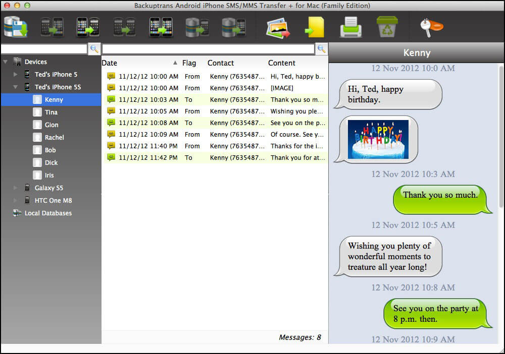 Backuptrans Android iPhone SMS/MMS Transfer + Screenshot