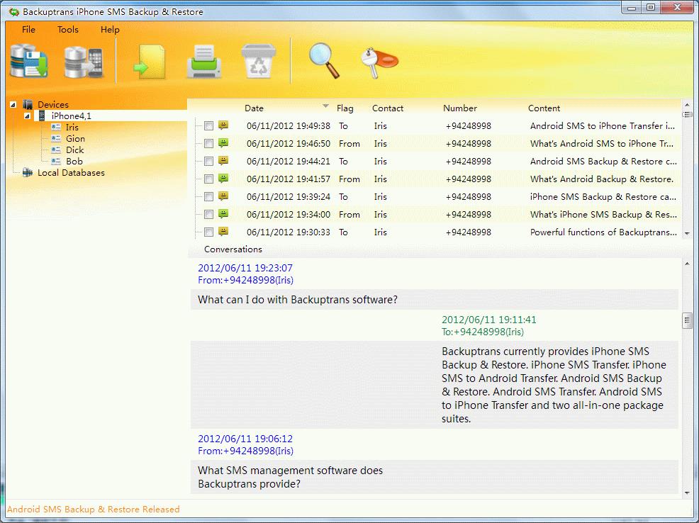 Backuptrans iPhone SMS Backup & Restore Screenshot