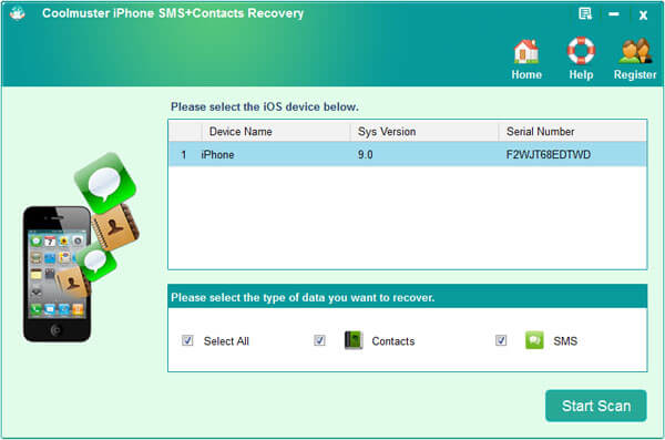 Coolmuster iPhone SMS + Contacts Recovery Screenshot