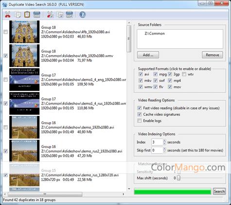 Duplicate Video Search Screenshot