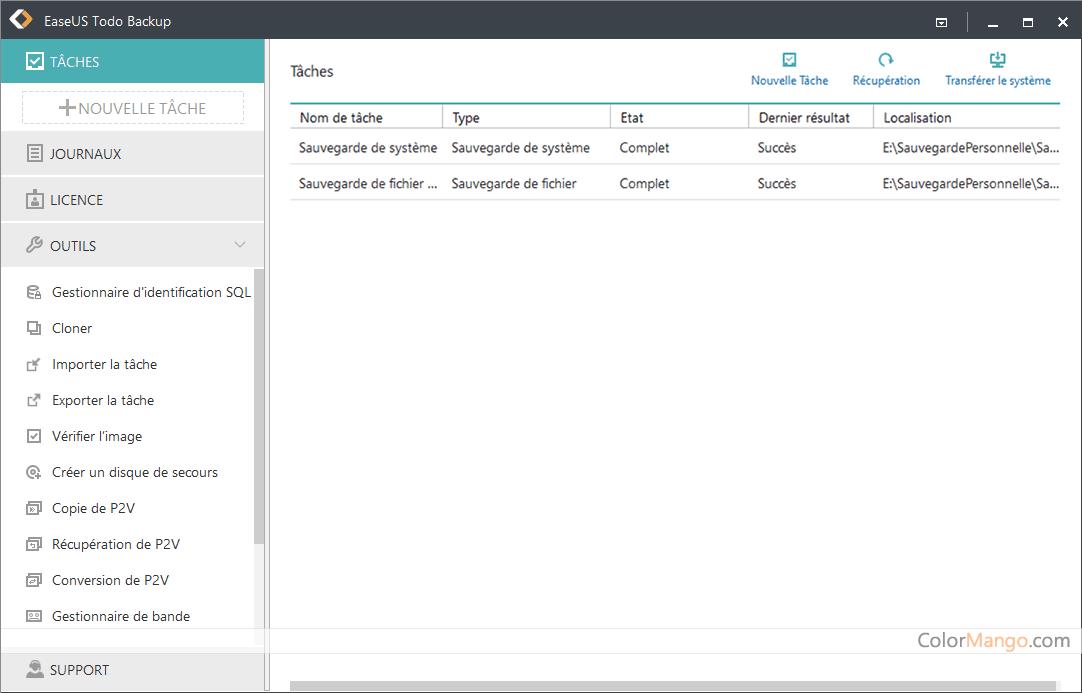 EaseUS Todo Backup Advanced Server Screenshot