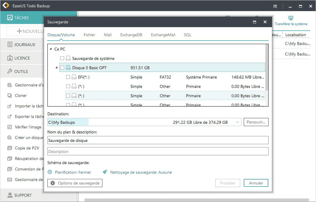 EaseUS Todo Backup Server Screenshot